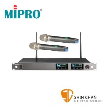 Mipro 無線麥克風組 台灣製(接收機ACT-727B×1台 + 麥克風ACT-72H ×2支)抗干擾/1U雙頻【型號:ACT-727B 配 ACT-72H手持麥克風2支組】