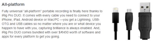 iRig Pro Duo 附贈所有種類連接線