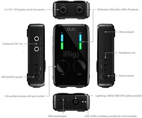 iRig Pro Duo 功能說明,擁有兩個 XLR\TRS 輸入孔雙通道,可以自彈自唱或更多用途