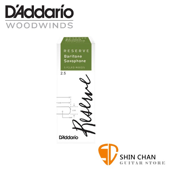 Strength 4.5 DLR0545 D/'Addario Woodwinds Reserve Baritone Saxophone Reeds 5-Pack