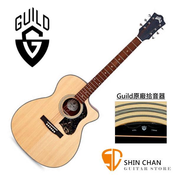 Guild OM-340CE 可插電 雲杉面單板 / 桃花心木側背板 切角 附 Guild 吉他厚袋 台灣公司貨 / om340ce