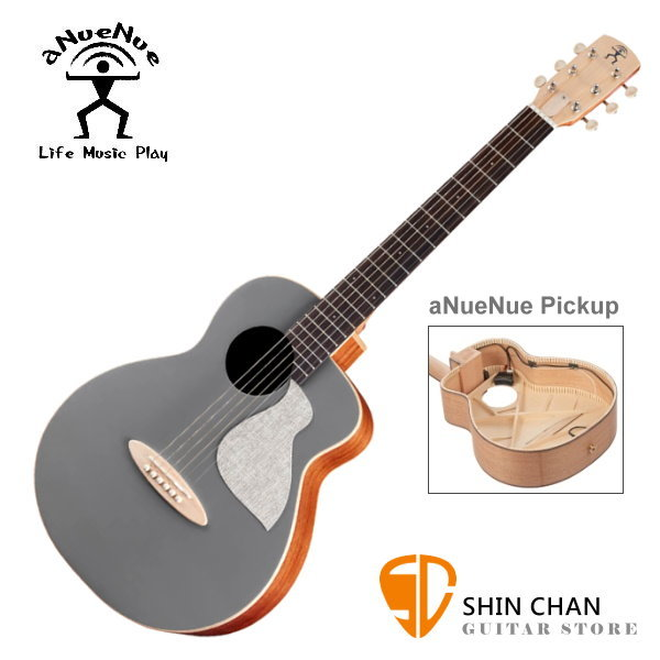 aNueNue MC10-QSE 可插電air blue 彩色鳥吉他 寧靜灰 36吋小吉他 雲杉面單板/桃花心木側背板 附小小收納袋、PICK、貼紙、胸章、琴布、原廠琴袋