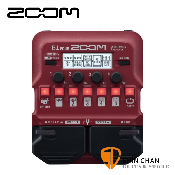 ZOOM B1 FOUR 電貝斯專用綜合效果器 原廠公司貨 一年保固【Guitar Effects Pedal】