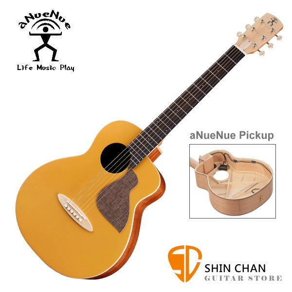 aNueNue MC10-GGE 可插電air blue拾音器 彩色鳥吉他 光輝金 36吋小吉他 雲杉面單板/桃花心木側背板 附小小收納袋、PICK、貼紙、胸章、琴布、原廠琴袋