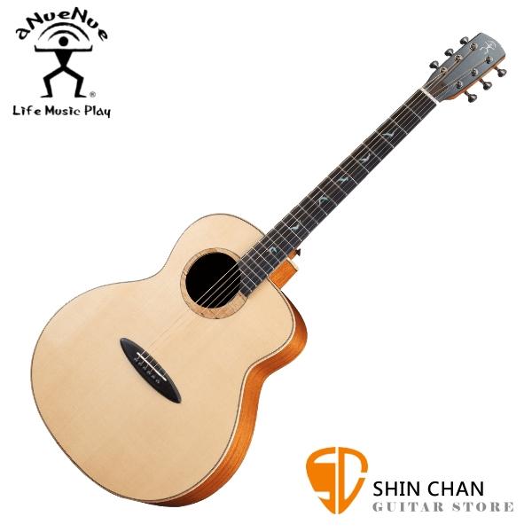 aNueNue LB100 雲杉木面板+桃花心木側背板 41吋 全單板 民謠吉他 / 鳥吉他 / 木吉他 附小小收納袋、PICK、貼紙、胸章、琴布、原廠琴盒