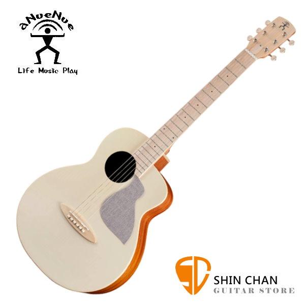 aNueNue MC10-AM 彩色鳥吉他 杏奶白 36吋小吉他 雲杉面單板/桃花心木側背板 附小小收納袋、PICK、貼紙、胸章、琴布、原廠琴袋【鳥吉他mc10/旅行吉他】