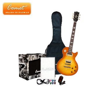 Comet 頂級 Les Paul SBSH1 虎紋電吉他全配備套餐【Comet吉他專賣店/吉他套
