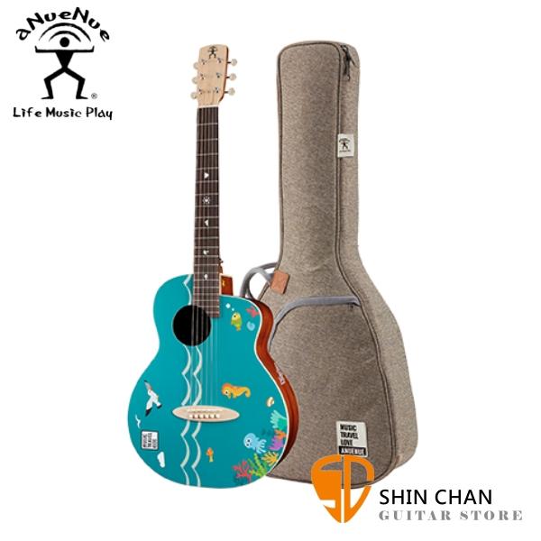 aNueNue MTK Morelos Blue 莫雷洛斯藍 36吋 旅行吉他/民謠吉他/木吉他 附原廠亞麻加厚琴袋/專屬設計貼紙組合包