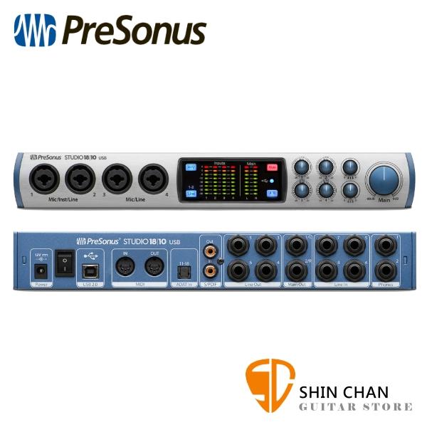 PreSonus Studio 1810 USB2.0錄音介面 取樣率24-bit/192kHz/採用XMAX A類放大 原廠公司貨【零延遲DSP處理技術】