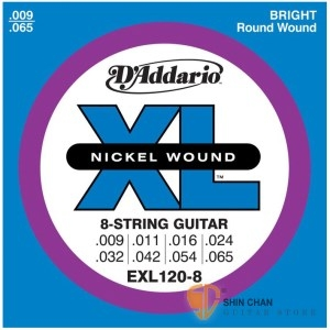D'Addario EXL120-8 (09-65) 8弦專用電吉他弦 【DAddario】