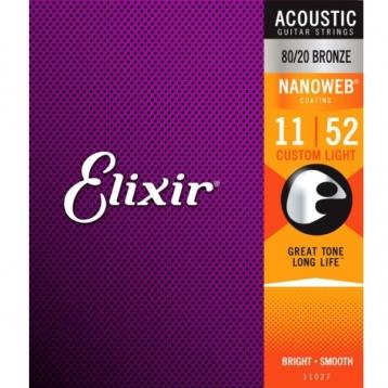 Elixir吉他弦 Nanoweb 11027 木吉他弦 / 民謠吉他弦 / elixir弦 11-52 台灣公司貨