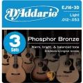 民謠吉他弦►D'addario EJ16-3D 磷青銅 一組3套 民謠吉他弦 (12-53)【DAddario/進口弦/EJ-16】