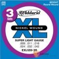 D'addario EXL120-3D 一組3套 頂級電吉他弦 (09-42)【進口電吉他弦/美國製/DAddario】