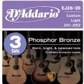 民謠吉他弦►D'addario EJ26-3D 磷青銅 一組3套 民謠吉他弦 (11-52)【DAddario/進口弦/EJ-26】