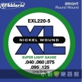 美國D'Addario EXL220-5 貝斯五弦(40~125)【貝斯弦專賣店/進口貝斯弦/EXL-220-5/DAddario】