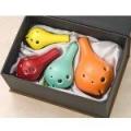 色釉套陶笛 由四個調性 ( 高音C/ 高音G/ 高音F/ 中音C ) 組合而成的套笛
